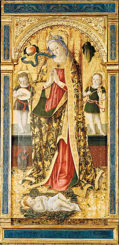 La Madonna adorante il Bambino e due Angeli
